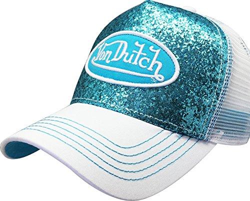 Von Dutch Trucker Sparkle Cap with Logo Patch (Blue VDHT231)