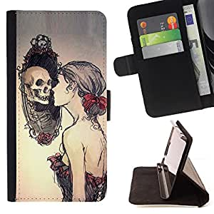 For Motorola Moto X 3rd / Moto X Style Skull Relection Miror - Goth Style PU Leather Case Wallet Flip Stand Flap Closure Cover