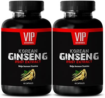 Pure Korean Ginseng Power – Red Root Extracts – Concentrated from Premium Ginseng Root Extract 2 Bottles 120 Capsules