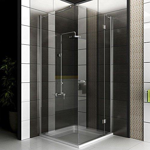 Duschkabine 100x100 mit Glasveredelung Duschabtrennung mit Seiteneinstieg Eck Duschkabine mit Drehtür rahmenlose Dusche