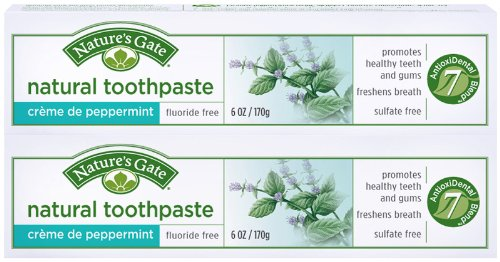 Natural Toothpaste Creme (Nature's Gate Fluoride-Free Natural Creme toothpaste, Creme de Peppermint - 6 oz - 2 pk)