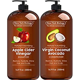 Apple Cider Vinegar Shampoo and Coconut Avocado Oil Conditioner Set – Helps Restore Shine, Hair Gloss and Hydration for Dry Hair and Itchy Scalp – Clarifying and Nourishing – 16.9 fl Oz