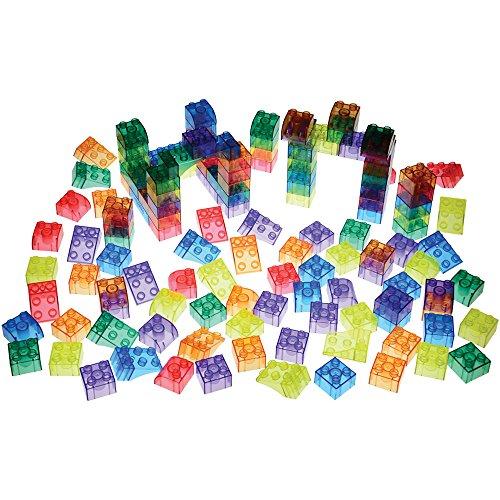 Constructive Playthings Crystal Bricks 136 Pc. Preschool Sized Building Bricks Set for Kids