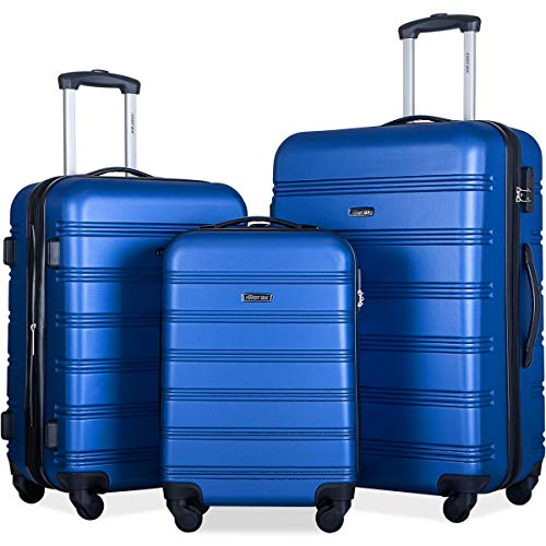 Merax 3 Pcs Luggage Set Expandable Hardside Lightweight Spinner Suitcase (Blue Color)