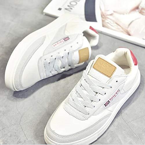 otoño ZHZNVX Flat e Round Primavera Black Mujer PU Poliuretano Red Heel Invierno Toe Zapatos Verano Red Comfort Sneakers y de OwrOq8f4