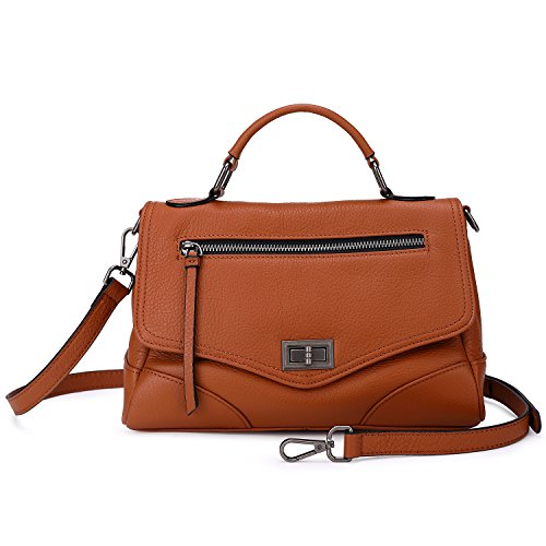 Women's Leather Satchel Handbags Mutil Functional Crossbody Shoulder Purse With Top Handle (011 Pebbles)