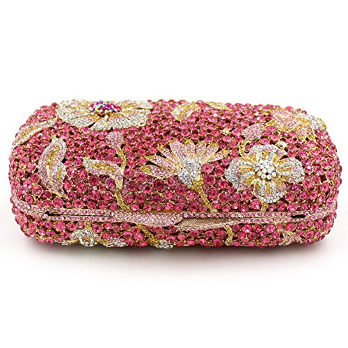 Damen Clutch Abendtasche Handtasche Geldbörse Glitzertasche Strass Kristall Cocktail Tasche mit wechselbare Trageketten von Santimon(18 Kolorit) Pink jwY6qzFh7