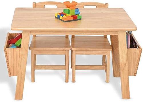 SSHHM Juego de mesa y silla para niños,Muebles de Madera,Cajas de Almacenamiento,Mesa de estudio,Hogar de Ancianos Protección Del Medio Ambiente/Color Madera/Table + 2chairs: Amazon.es: Bricolaje y herramientas