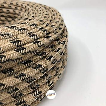 Cable eléctrico redondo revestido de tela. Color yute/negro ...