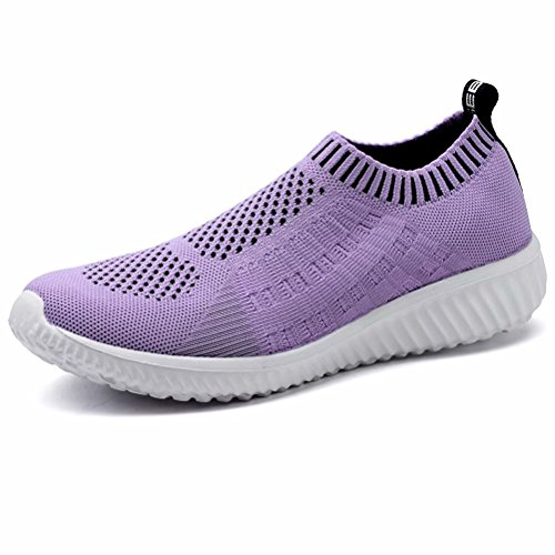 LANCROP Women's Lightweight Slip On Athletic Sneakers Breathable Mesh Walking Shoes,6701 Purple,8.5 M US