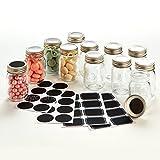 Hayley Cherie - 2.5 oz Mini Glass Mason Jars (Set of 12) with Chalkboard Labels