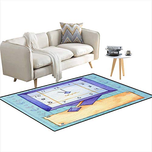 Kids Carpet Playmat Rug Series of Watercolors Wall Clock wi Banner for Text 4'x14'