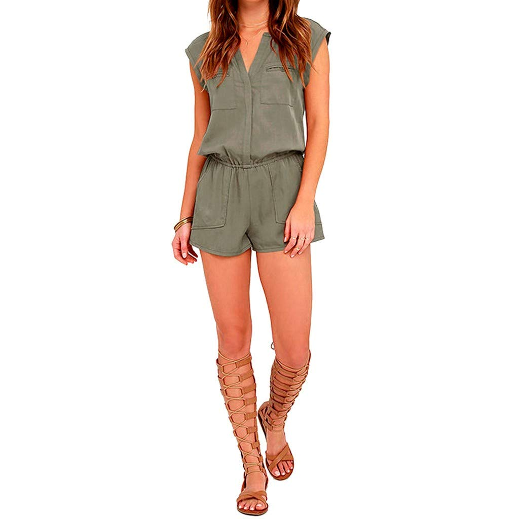 Sexy Fashion Womens Jumpsuit Sleeveless Pants Bodysuit Top Playsuit Army Green