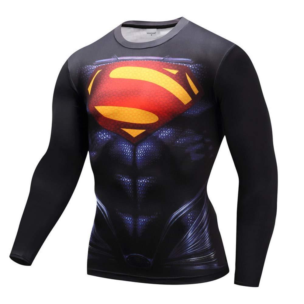 JUFENG Camicie A Compressione Uomo Manica Lunga Spiderman 3D Stampate Magliette Uomo 2018 Nuove Magliette per Uomo Costume Cosplay Abbigliamento,A-S