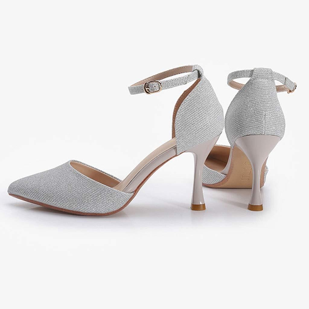 Flacher, spitzer Mund Mund Mund Feiner Absatz Leder Material Sandalen Schnalle mit Einem Knopf 8 cm Hohe Absätze Rosa Weiß (Farbe   Weiß, größe   39 1 3 EU) 536fc8