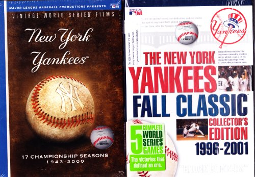 MLB Vintage World Series Films - New York Yankees: 17 Championship Seasons 1943-2000 , the New York Yankees Fall Classic Collector's Edition 1996-2001 : Double Box Set 13 DVD SET Over 26 Hours by A&E HOME ENTERTAINMENT