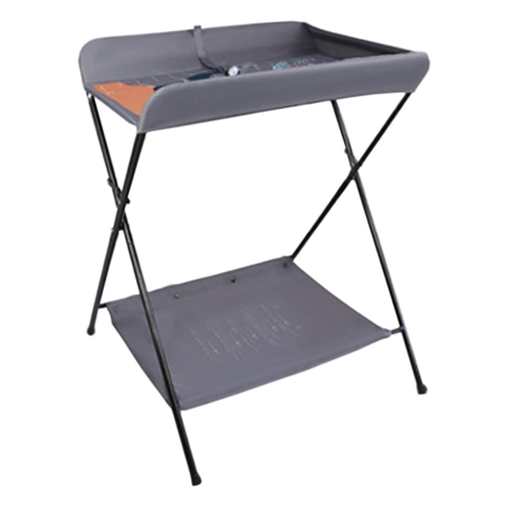 Gray Baby Changing Diaper Table Folding, Newborn Bath Station for Small Space, Portable Dresser Toddler 0-3 Years Old, Foldable with Safety Straps