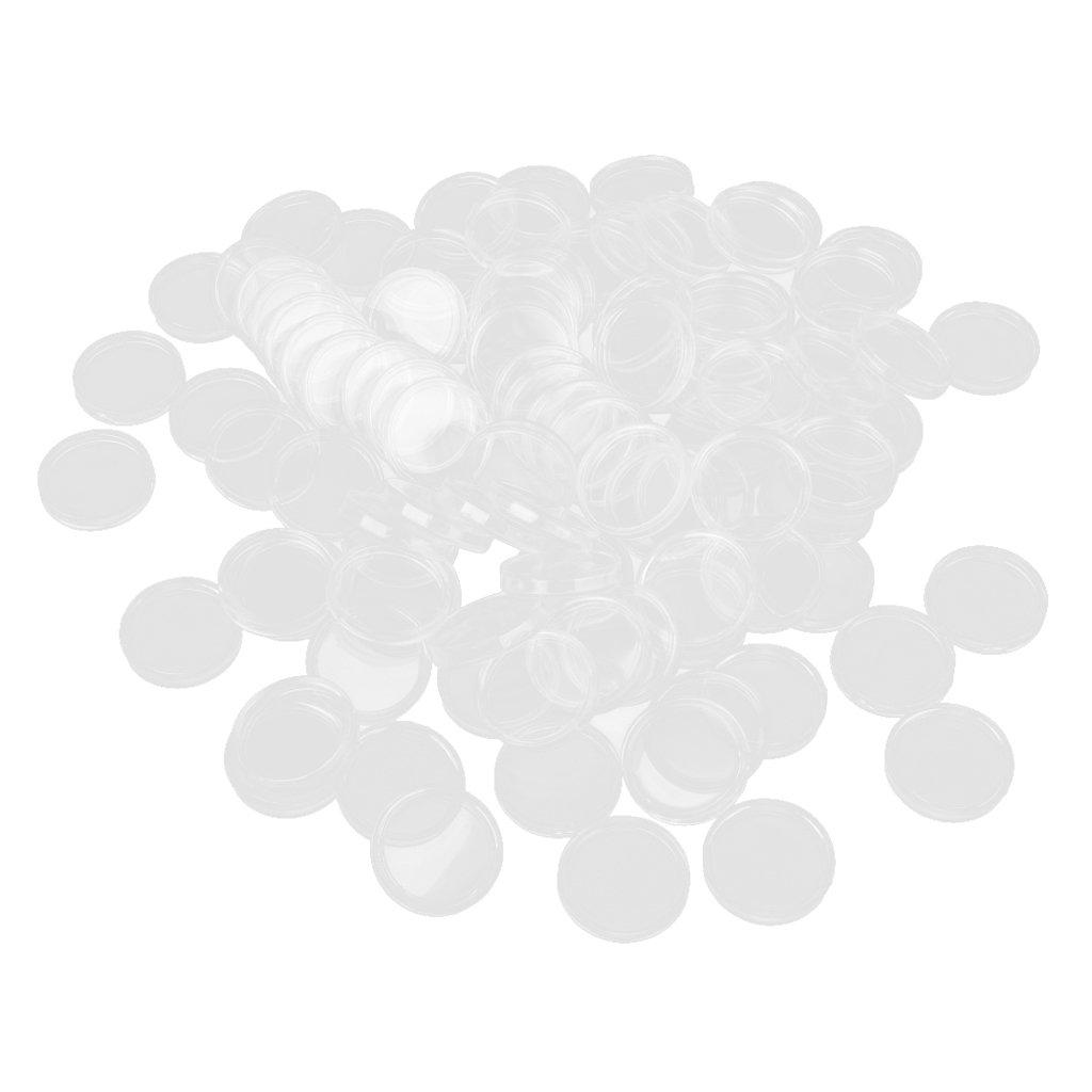 sharprepublic 100 Unids 32 Mm Transparente Caja Redonda Monedas De Pl/ástico C/ápsulas Titular De Contenedor