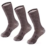 MERIWOOL Merino Wool Hiking Socks for Men and Women - 3 Pairs Midweight Cushioned - Warm n Breathable - Large/Brown