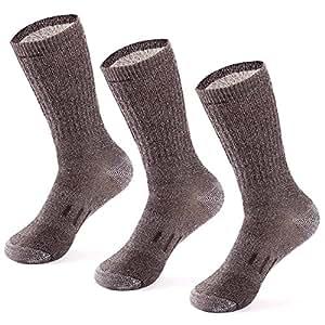 MERIWOOL Merino Wool Hiking Socks for Men and Women - 3 Pairs Midweight Cushioned - Warm n Breathable, Mens, Brown, Large
