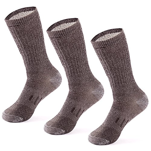 - MERIWOOL Merino Wool Blend Hiking and Trekking Crew Socks Pack of 3 Pairs – Large/Brown