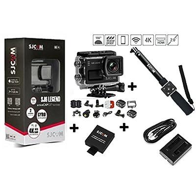 'SJCAM SJ6Legend Caméra de Sport 4K (16MP processeur Novatek 96660, WiFi, écran tactile 2.0) Noir + Chargeur double + Extra 1batterie + bâton monopode avec télécommand