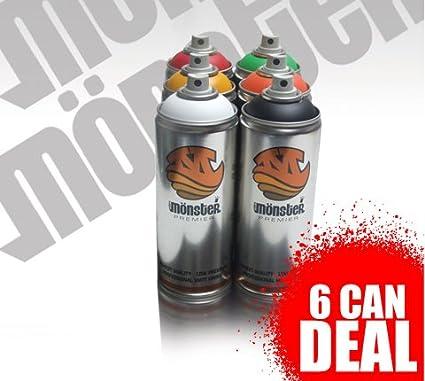 Graffiti Spray Paint 6 x Monstercolors Premier Range Special Offer!