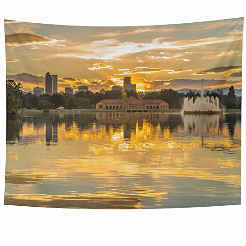 Ahawoso Tapestry 80x60 Inch Cityscape Mountains Golden Sunset City Park Summer Denver Skyline Colorado Lake Nature Ferril Design Tapestries Wall Hanging Home Decor for Living Room Bedroom Dorm
