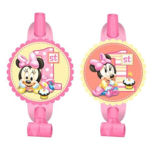 8 Count Minnie's 1st Birthday Blowouts, Pink]()