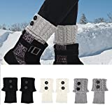 Boot Cuff Leg Warmers,3 Pair Short Women Fashion Crochet Boot Cuffs Winter Topper Cable Boot Knit Sock(Black+White+Gray)