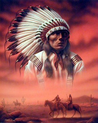 Amazon.com: Native American Indian Chief Joseph with Riders Wall ...