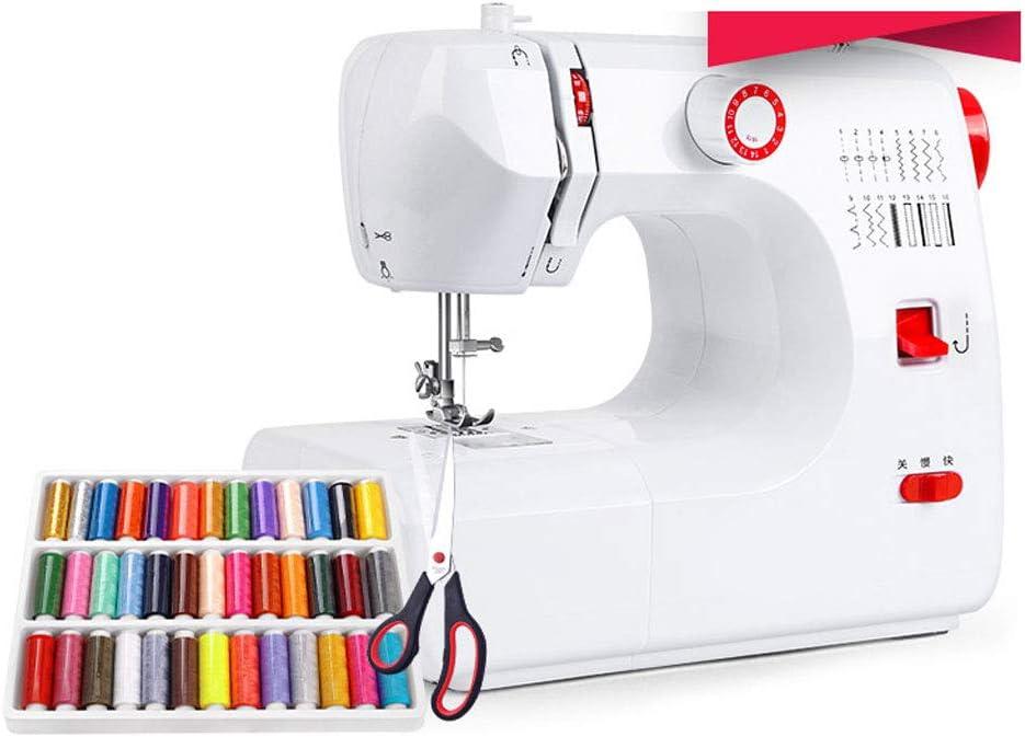JIAAN Máquina de Coser Portátil,Sewing Machine Máquina de Coser Mini portátil eléctrico portátil para el hogar con Pedal Overlock 16 Puntos incorporados para Aficionados Principiantes Bordado
