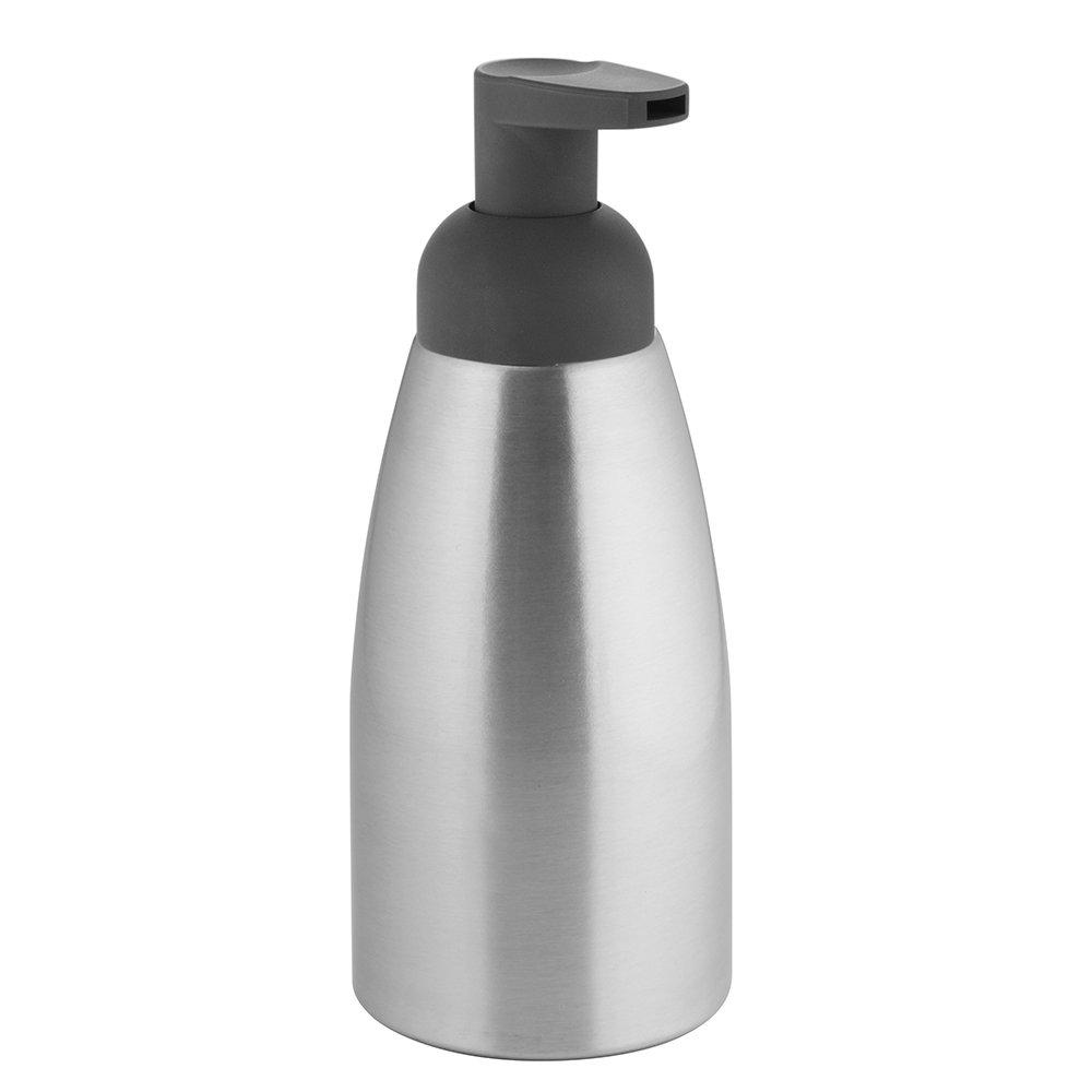 iDesign Metro Schaumseifenspender, extragroß er Seifenspender aus Aluminium und Kunststoff, silberfarben und mattgrau Interdesign 50027