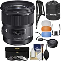Sigma 24mm f/1.4 Art DG HSM Lens with USB Dock + 3 Filters + Strap + Pouch + Diffusers + Kit for Nikon Digital SLR Cameras