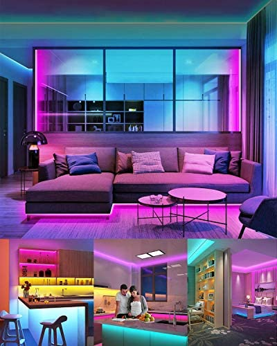 LED Strip Lights, Mixi 65.6ft 600 Lights Waterproof LED Light Strips Color Changing 5050 RGB with Bluetooth Music Sync App Remote Controller, Wall Lights, Rope Lights, Bedroom Decor