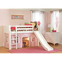 Bolton Furniture 9811200LT6BR Cottage Low Loft, White, with Pink/White Bottom Playhouse Curtain and Slide