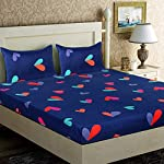 BADOTI Poly Cotton Printed 1 Double Bedsheet with 2 Pillow Covers (Double, Blue Heart)