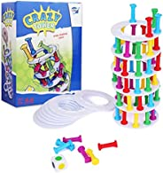 Point Games Crazy Tower - Stacking Tower Game with Fun Roman Column Design- Toppling Leaning Tower Toy with Di