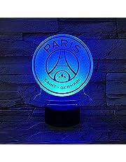 Paris Saint Germain fotbollsklubb LED nattlampa 3D-illusion barn ligan PSG fotboll logo nattlampa bordslampa – fjärrkontroll 16 färger