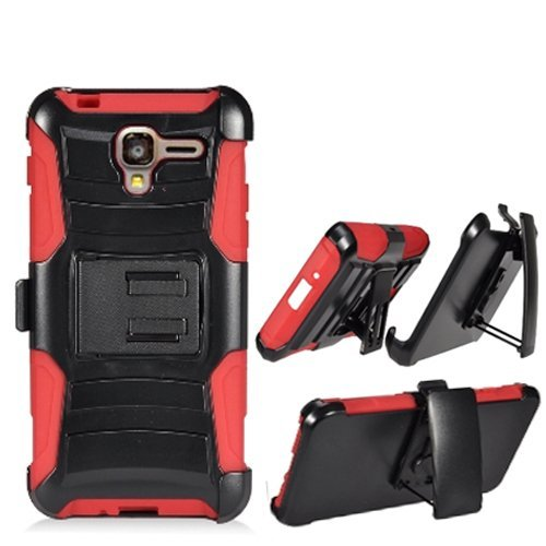 Phone Case for Kyocera Hydro-View 4g LTE (Cricket Wireless) / Hydro-Shore Gophone / Hydro-Reach 4g LTE ( Boost Mobile ) ( Virgin Mobile ) Red Edge Cover Kickstand with Holster Belt Clip (Virgin Mobile Touch Screen 5 Inch)