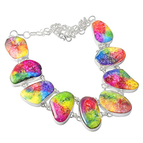 SILVERART 93.6Gm Multi Solar Quartz Handmade 925 Silver Plated Necklace Jewelry by SILVERART