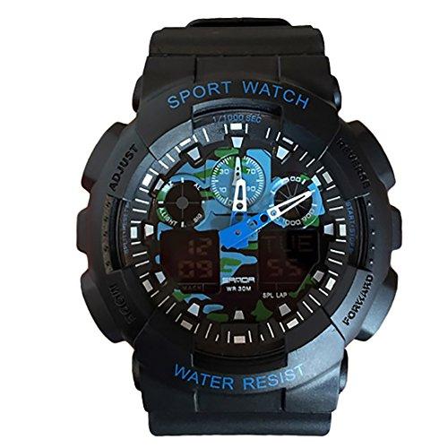 Mens Sports Digital Watch Camouflage Date Calendar Rubber Straps Band Analogue Digital Dial Quartz Movement Wrist Watches (Blue) (Digital Blue Dial Rubber Strap)