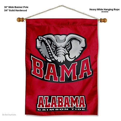 Alabama Crimson Tide Bama Banner with Hanging Pole (Wall Tide Crimson Banner Alabama)