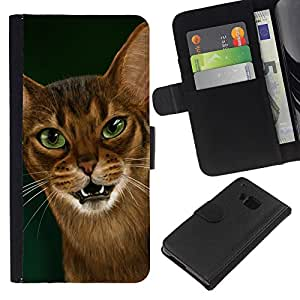 Cornish Rex Abyssinian Ocicat - la tarjeta de Crédito Slots PU Funda de cuero Monedero caso cubierta de piel HTC One M9