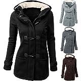 Apparel : Napoo Fashion Women Horns Windbreaker Pocket Warm Wool Slim Long Coat Jacket Trench Outwear