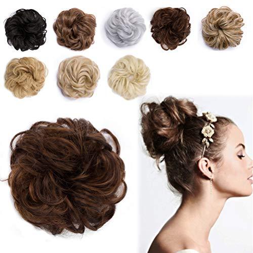 Messy Hair Bun Extensions Synthetic Updo Chignons Donut Elastic Bride Bun Ponytail Scrunchy Hairpiece Wig Accessory for Women 35g Light Auburn Mix Medium Brown-Medium