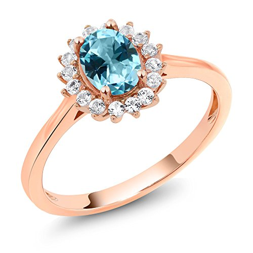 10K Rose Gold Ring Created Sapphire Set with Ice Blue Topaz from (Ice Blue Rose)