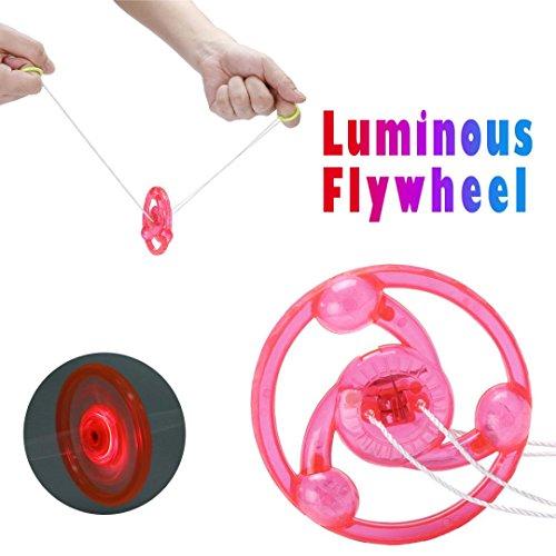 Gbell Amazing LED Luminous Glow Flywheel for Kids,Children Boysa Girls Party Favors Glow Toys,Purple,Pink,Green,Orange (Pink)