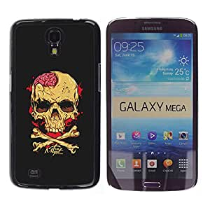 GOODTHINGS Funda Imagen Diseño Carcasa Tapa Trasera Negro Cover Skin Case para Samsung Galaxy Mega 6.3 I9200 SGH-i527 - cerebros cráneo amarillo de la bandera pirata negro