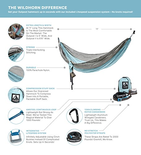 Outpost Double/Single Camping Hammock With 11' Tree Straps - 100% Parachute Nylon - Cinch Buckle Design, No Knots Required - Easiest Hammock To Hang,Silver/Light Blue